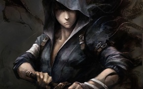 Картинка меч, арт, капюшон, парень