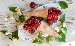 Картинка ягоды, черешня, вафли, жасмин