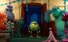 Обои Sulley, Monsters University, Академия монстров, MONSTERS UNIVERSITY, Mike Wazowski