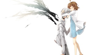 Обои девушка, крылья, аниме, арт, объятия, парень, misaka mikoto, индекс волшебства, to aru majutsu no index, ...