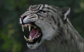 Картинка кошка, хищник, голова, арт, пасть, леопард, ирбис, дикая