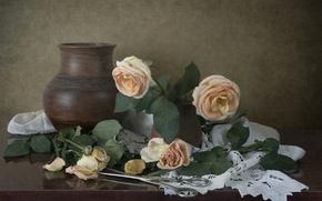 Картинка розы, лепестки, кувшин, натюрморт, бутоны, винтаж, ножницы
