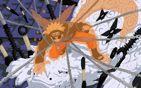 Картинка цепи, naruto, manga, Uzumaki Naruto, Jinchuriki, кунаи, покров девятихвостого