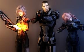 Картинка оружие, девушки, коллаж, арт, капитан, броня, mass effect, shepard, lightning, final fantasy, рендер, шепард