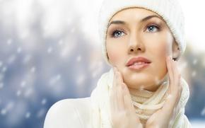 Картинка лицо, модель, шапка, шарф, шапочка