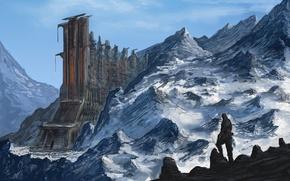 Картинка снег, горы, фантастика, скалы, здание, человек, арт