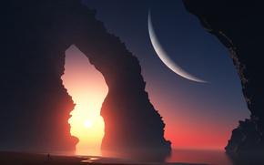 Обои море, девушка, пейзаж, закат, скалы, планета, арт, арка