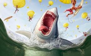 Обои люди, парашют, акула