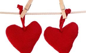 Картинка романтика, сердце, веревка, сердечки, прищепки, hearts, валентинки
