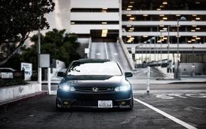 Картинка черный, honda, black, хонда, civic, front, сивик, stance
