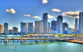 Картинка мост, город, пристань, Майами