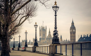 Картинка деревья, река, Лондон, фонари, Великобритания, Темза, Биг-Бен, набережная