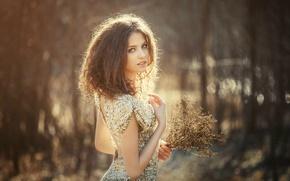 Картинка взгляд, девушка, поза, милая, платье, брюнетка, girl, шатенка, красивая, милашка, dress, brown hair, eyes, beautiful, ...