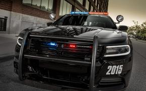 Картинка Dodge, бампер, Charger, police, Pursuit, мигалки, 2015