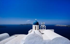 Обои греция, санторини, остров тира, небо