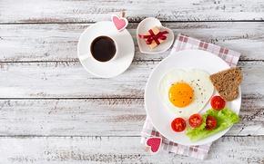 Картинка любовь, подарок, романтика, сердце, доски, яйцо, кофе, завтрак, хлеб, яичница, помидоры, coffee, салат, romance, сервировка, …