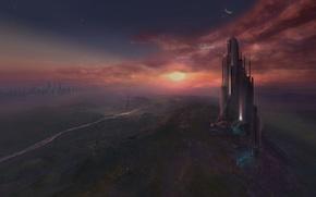 Обои Город, будущее, высота, закат