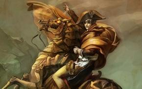 Картинка конь, арт, стимпанк, всадник