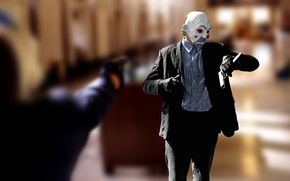 Обои время, стиль, пистолет, batman, кино, рисунок, часы, клоун, маска, бэтмэн, тёмный рыцарь, dark knight, ДЖОКЕР