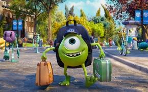 Картинка Монстры, Disney, Pixar, Чемодан, Радость, Кепка, Mike Wazowski, Monsters university