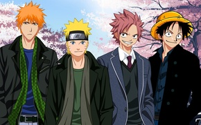 Обои wallpaper, game, naruto, bleach, pirate, anime, kurosaki ichigo, one piece, crossover, ichigo, ninja, fairy tail, ...