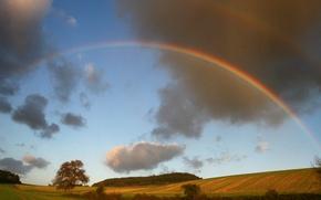Картинка пейзаж, природа, радуга
