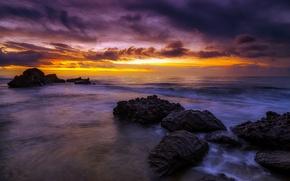 Картинка sea, rocks, sunrise, Spain