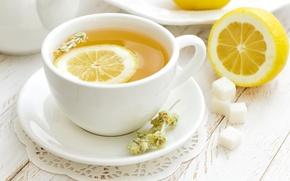 Картинка лимон, чай, кружка, сахар, блюдце