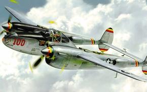 Картинка war, art, painting, aviation, Lockheed P-38 Lightning, ww2