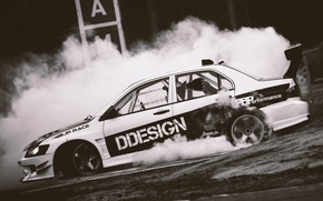 Картинка Mitsubishi, дрифт, drift, smoke, evolution, evo, Митсубиси, корч