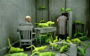 Обои пара, навязчивые ИдеИ, зеленые коты, Sandy Skoglund, серая комната