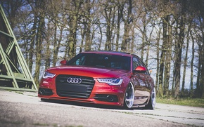 Картинка Audi, red, front, wagon, stance, avant