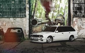Картинка бмв, BMW, белая, графити, E30, универсал, 325i