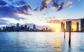 Картинка закат, florida, майами, флорида, miami