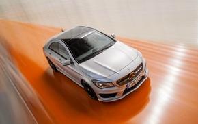 Картинка Mercedes-Benz, Авто, Мерседес, Серый, Капот, в движении, Class, CLA