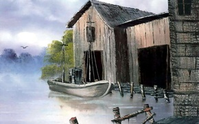 Картинка вода, река, птица, берег, лодка, здание, картина, живопись, док, кусты, Bob Ross, dock scene
