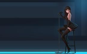 Картинка девушка, сцена, аниме, арт, микрофон, солистка