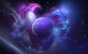 Обои абстракции, небо, планета, звезды, свечение