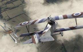 Картинка небо, Франция, Самолет, биплан