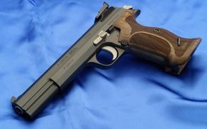 Картинка пистолет, оружие, обои, синий фон, Sig P210