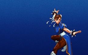 Картинка девушка, синий, уличный боец, street fighter, Chun Li