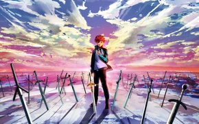 Картинка небо, облака, закат, оружие, аниме, арт, парень, мечи, fate stay night, magicians, emiya shirou