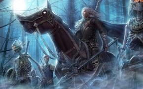 Картинка лес, ночь, оружие, конь, арт, всадник, скелеты, нежить, горящие глаза