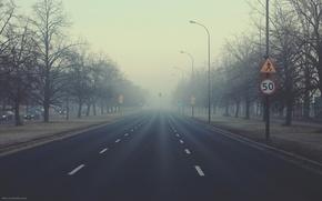 Картинка туман, рассвет, знак, утро, пешеход, ГОРОД, ограничение, Away we go