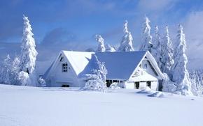 Картинка 2560x1440, snow, зима, landscape, trees, sky, облака, clouds, снег, природа, house, деревья, дом, небо, nature, ...
