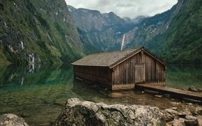 Обои горы, Германия, озеро, домик, Lake Obersee, лес, Бавария, камни