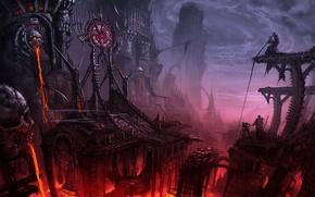 Картинка город, люди, лава, башни, пропасть, мрачность