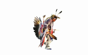 Картинка танец, перья, индеец