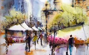Картинка город, картина, акварель