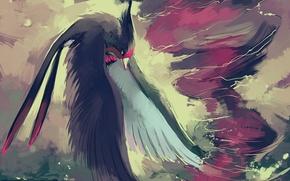 Обои Покемон, крылья, уранаг, птица, смерч